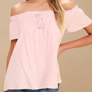 Pink off the shoulder lulu's top